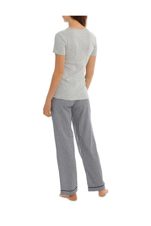 Soho - Soho Basics Short Sleeve Knit Tee & Long PJ Pant Set SSOW18035