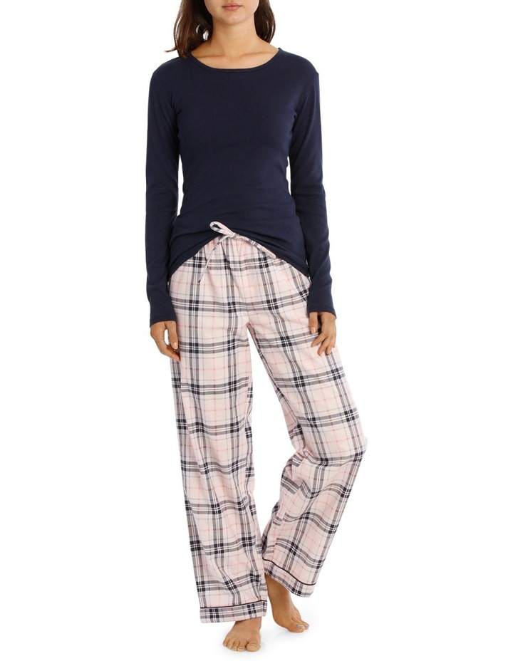 Basics Pajama's Long Sleeve Knit Top With Flannel Pant SSOW18001 image 1