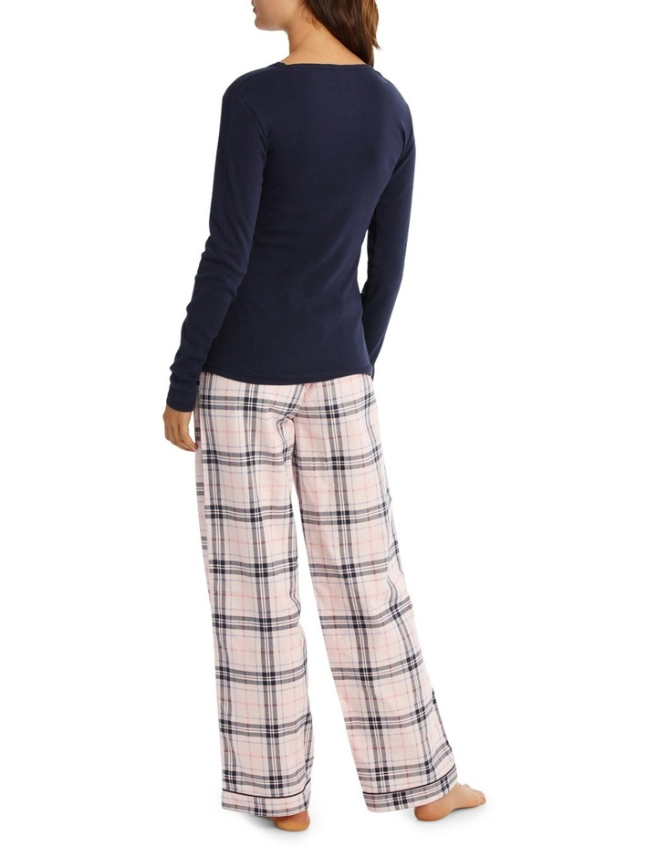 Basics Pajama's Long Sleeve Knit Top With Flannel Pant SSOW18001 image 2