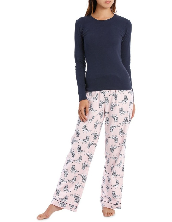 Long Sleeve Knit Top with Flannel Pant image 1