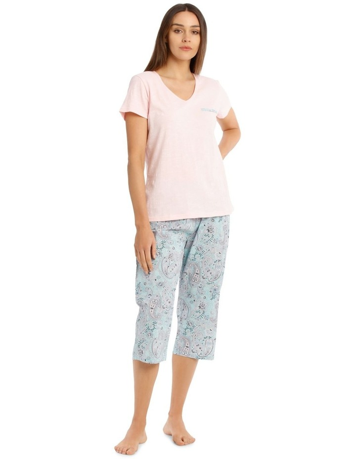 Knit Short Sleeve Top with Woven 3/4 Pant PJ Set image 1