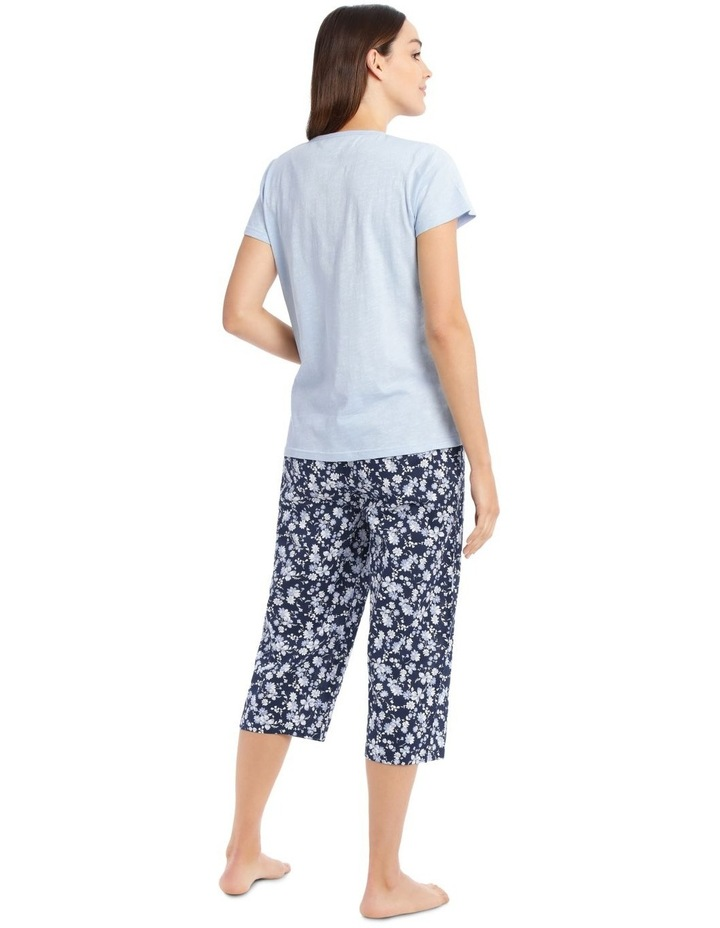 Knit Short Sleeve Top with Woven 3/4 Pant PJ Set image 2
