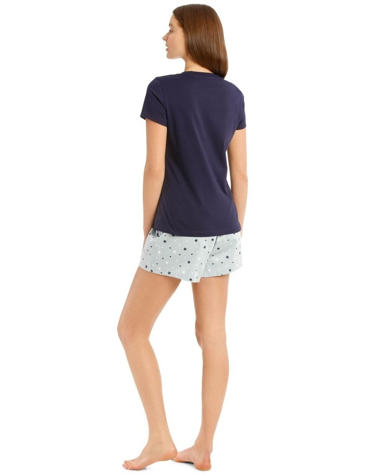 Knit Short Sleeve Top with Woven Short PJ Set image 2