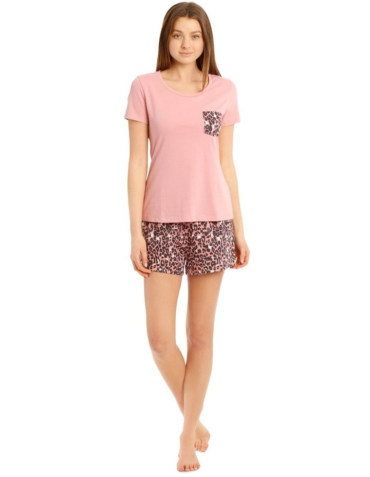 Knit Short Sleeve Top with Woven Short PJ Set image 1