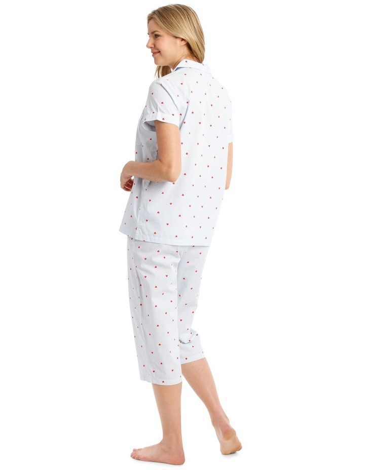Woven Short Sleeve Top with 3/4 Pant PJ Set image 2