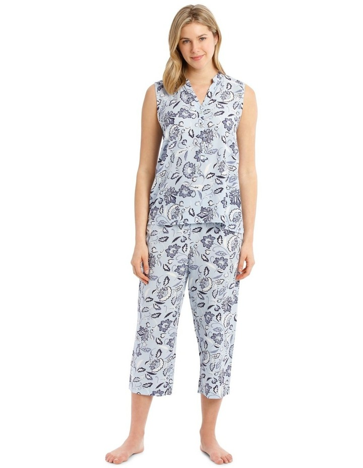 Blue Damask Woven Sleeveless Top with 3/4 Pant PJ image 1