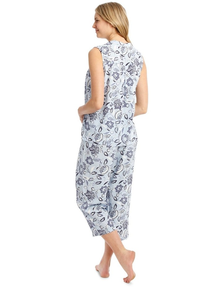 Blue Damask Woven Sleeveless Top with 3/4 Pant PJ image 2