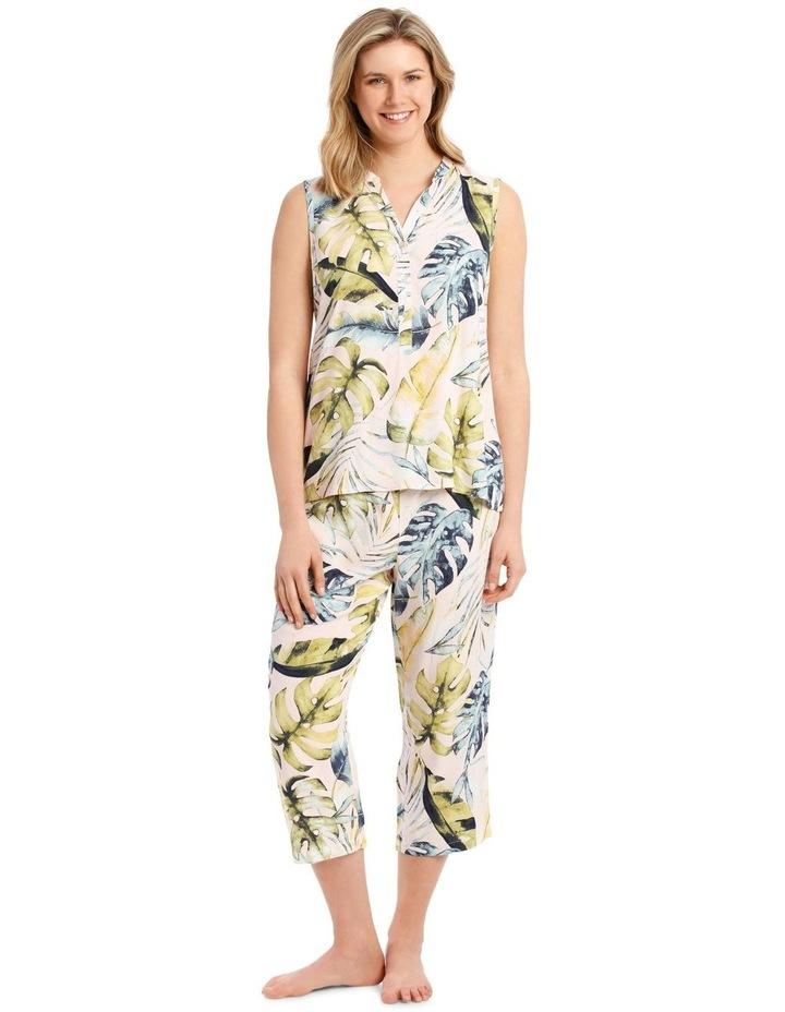 Tropicana Woven Sleeveless Top with 3/4 Pant PJ Set image 1