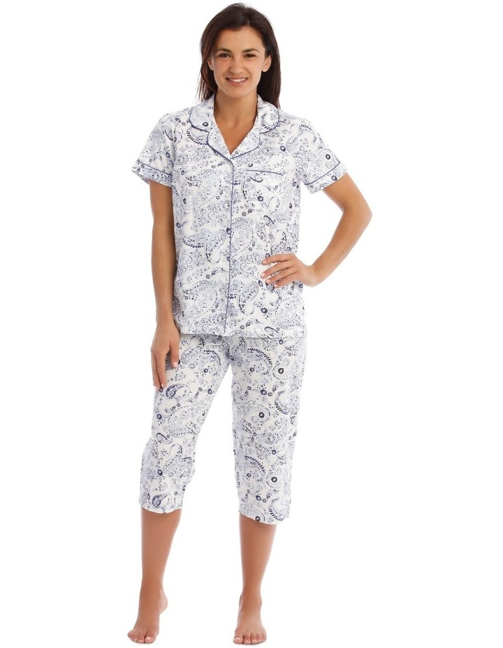 Woven Short Sleeve Top with 3/4 Pant PJ Set image 1