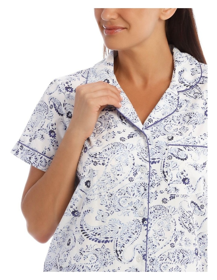 Woven Short Sleeve Top with 3/4 Pant PJ Set image 3