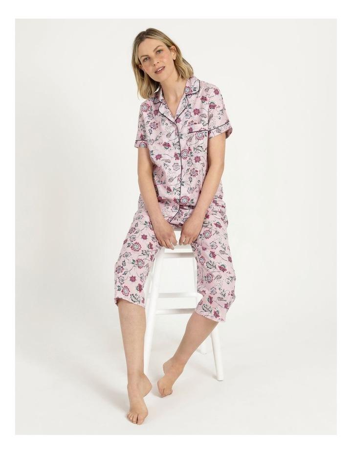 Organic Cotton Woven 3/4 Pj Set Pink Floral image 1