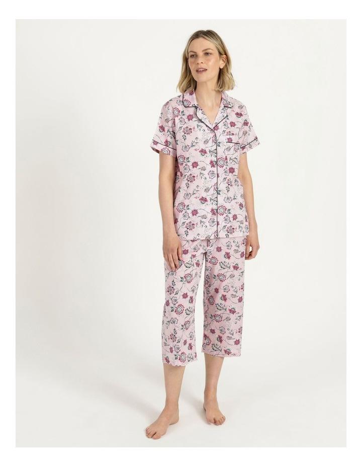 Organic Cotton Woven 3/4 Pj Set Pink Floral image 2