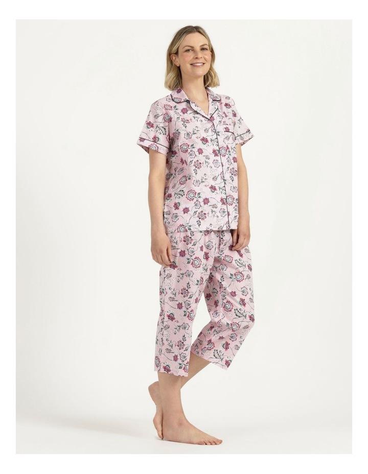 Organic Cotton Woven 3/4 Pj Set Pink Floral image 3
