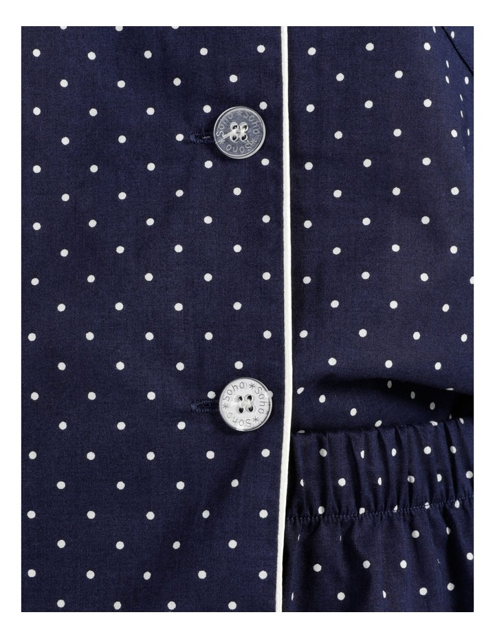 Organic Cotton Woven 3/4 Pj Set Navy Spot image 7