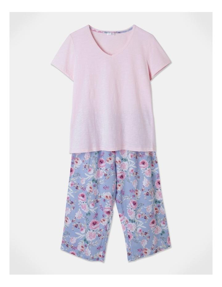 Organic Cotton Knit V-Neck 3/4 Pj Set Baby Pink/ Blue Flor image 1