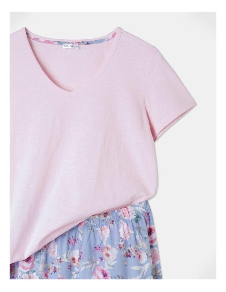 Organic Cotton Knit V-Neck 3/4 Pj Set Baby Pink/ Blue Flor image 2