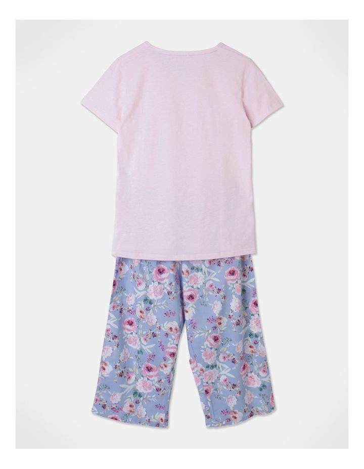 Organic Cotton Knit V-Neck 3/4 Pj Set Baby Pink/ Blue Flor image 3