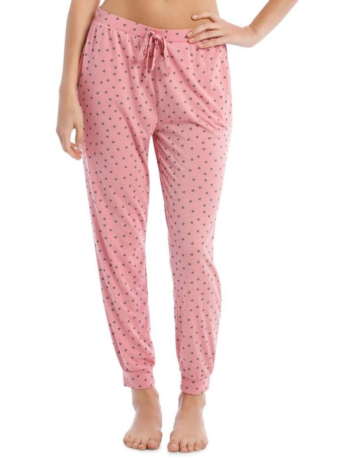 Sleeping Hearts Long Knit Pant in Pink image 1