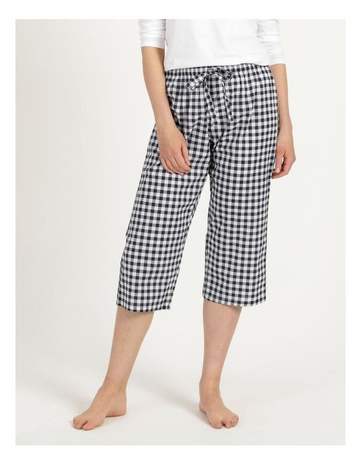 Organic Cotton Woven 3/4 Pant Navy Gingham image 2