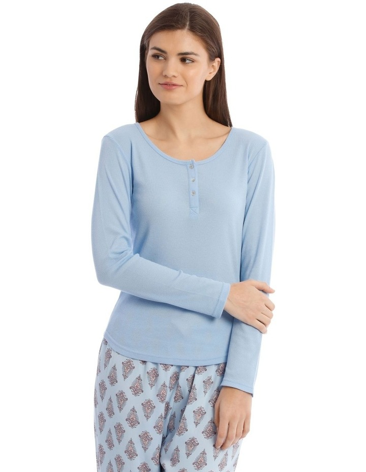 Long-Sleeve Knit Top in Blue image 1