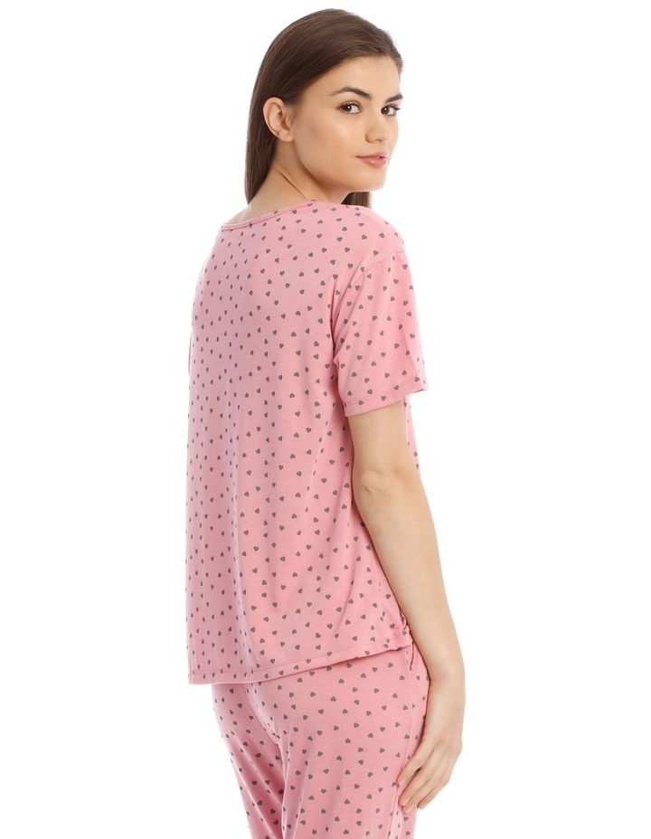 Sleeping Hearts Short-Sleeve Knit Top in Pink image 2