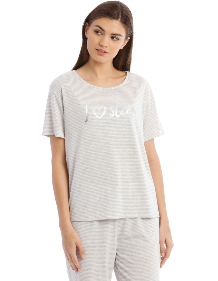 Sleeping Hearts Short-Sleeve Knit Top in Grey image 1