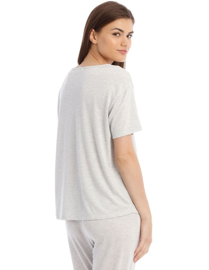 Sleeping Hearts Short-Sleeve Knit Top in Grey image 2