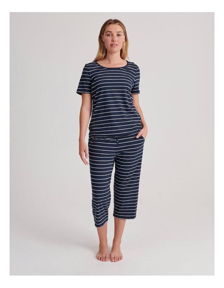 Cotton Modal Short Sleeve Pyjama Top in Stripe image 2