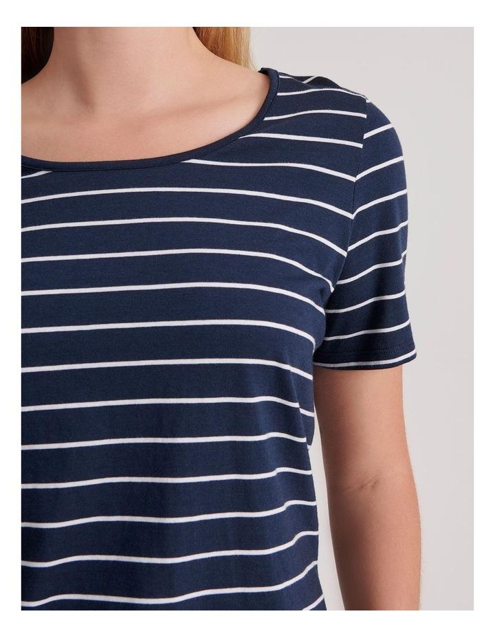 Cotton Modal Short Sleeve Pyjama Top in Stripe image 4