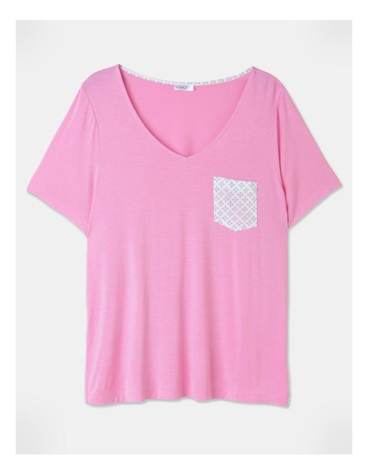 Viscose Elastane V-Neck Tee Pink image 1