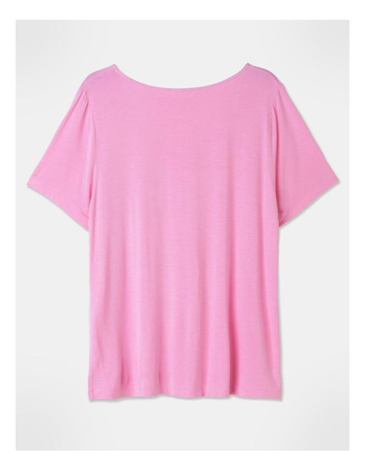 Viscose Elastane V-Neck Tee Pink image 3