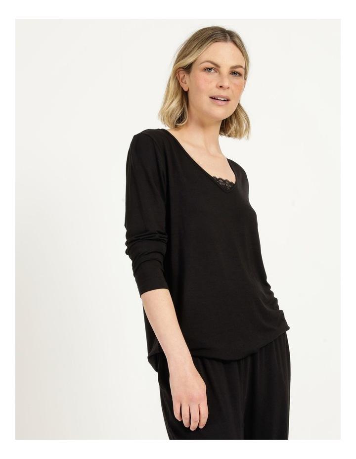 Viscose Elastane Long Sleeve Top Black image 1