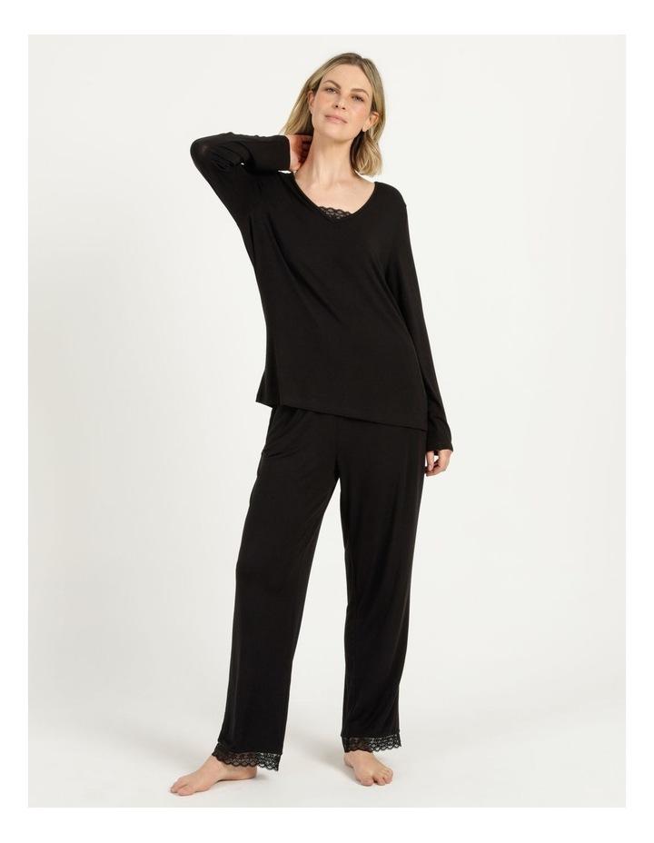 Viscose Elastane Long Sleeve Top Black image 2