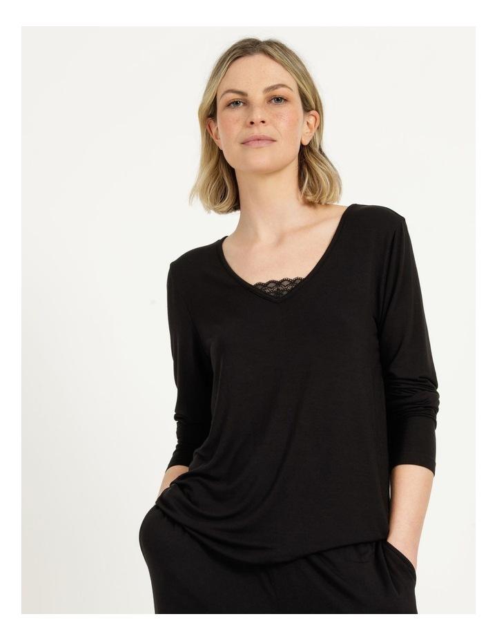 Viscose Elastane Long Sleeve Top Black image 4