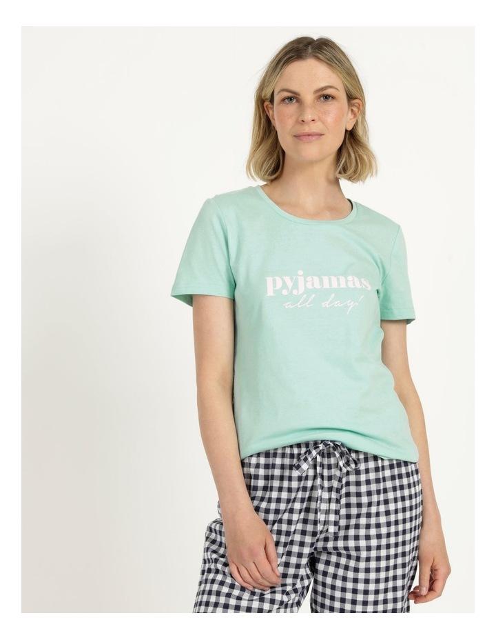 Organic Cotton Knit Short Sleeve Top Mint Slogan image 1