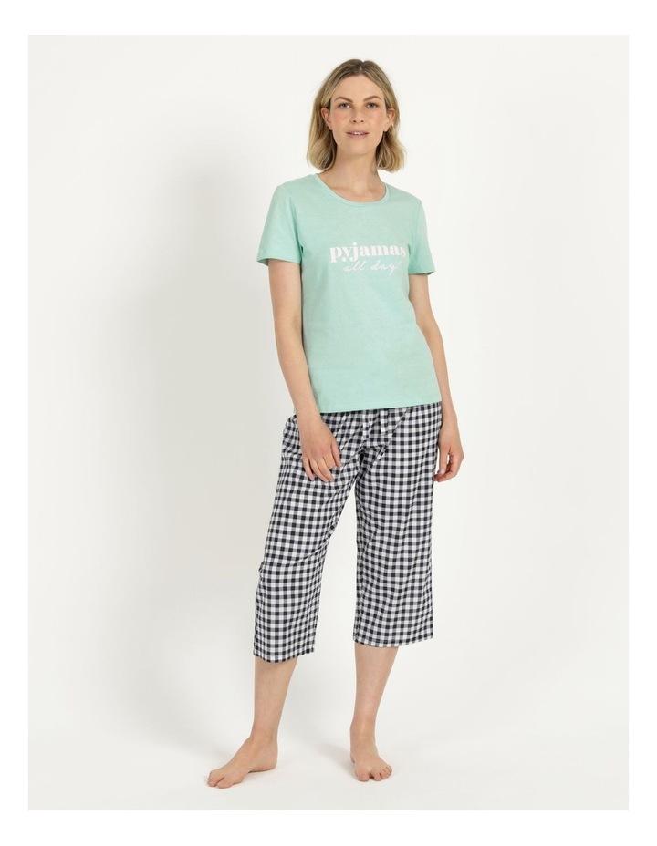 Organic Cotton Knit Short Sleeve Top Mint Slogan image 2