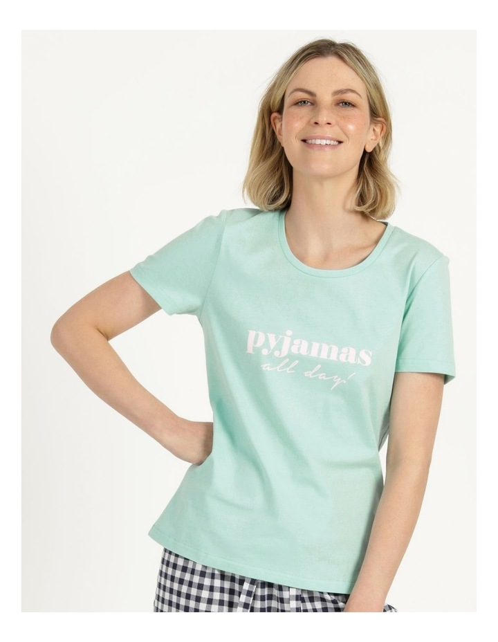 Organic Cotton Knit Short Sleeve Top Mint Slogan image 3