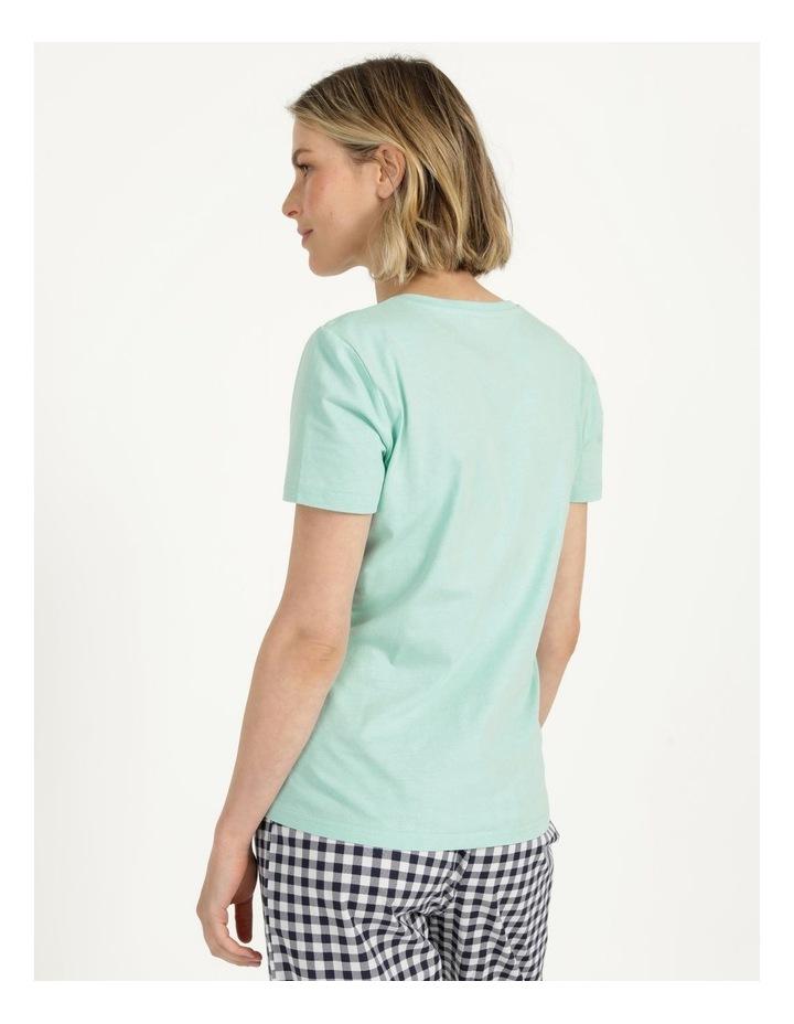 Organic Cotton Knit Short Sleeve Top Mint Slogan image 5