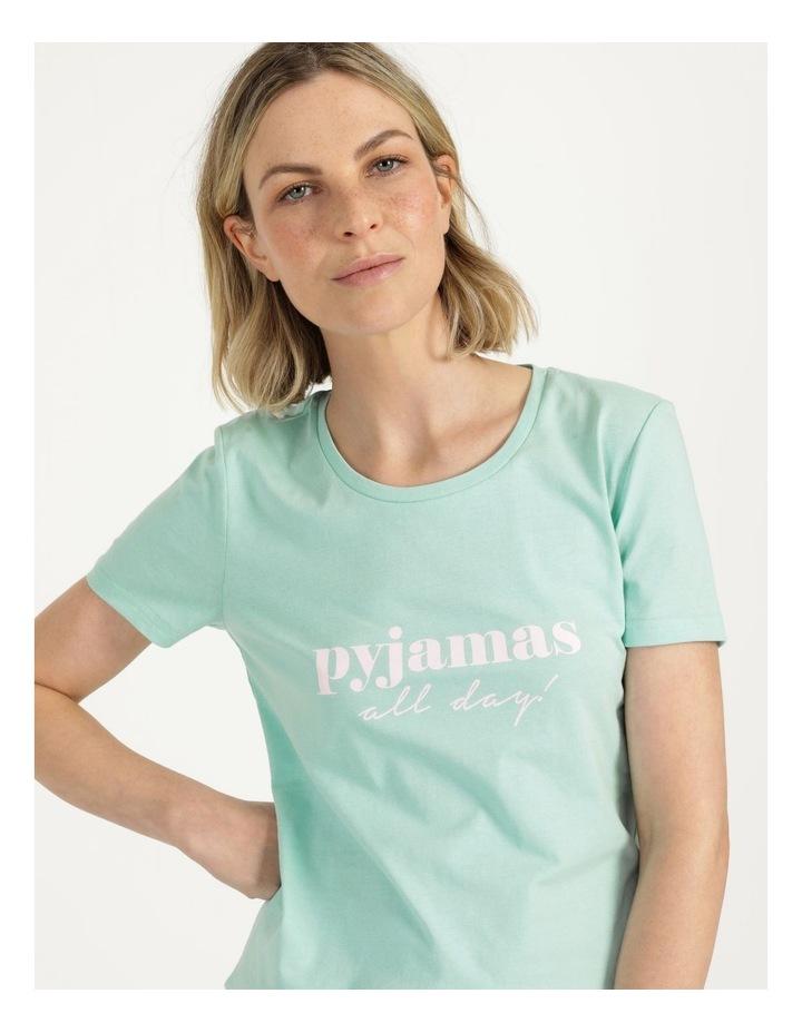 Organic Cotton Knit Short Sleeve Top Mint Slogan image 6