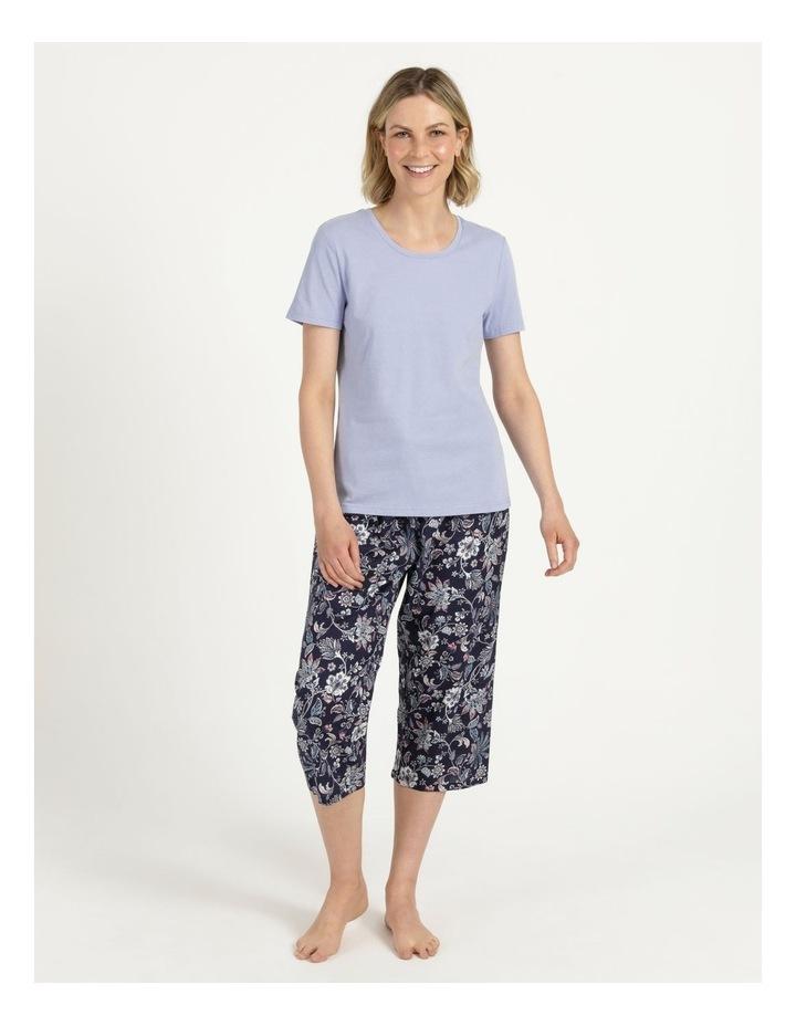 Organic Cotton Knit Short Sleeve Top Blue image 2