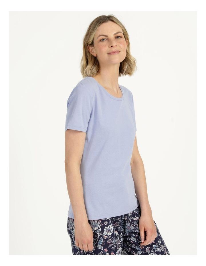 Organic Cotton Knit Short Sleeve Top Blue image 3