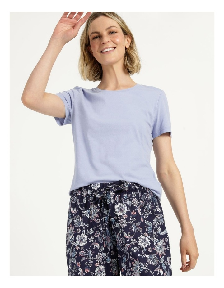 Organic Cotton Knit Short Sleeve Top Blue image 4