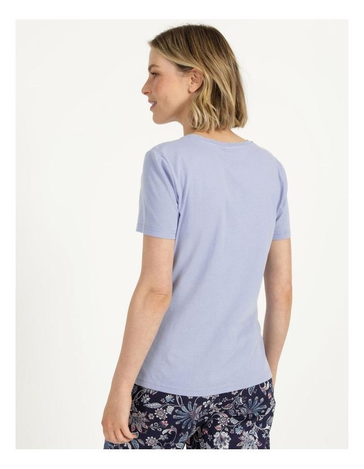 Organic Cotton Knit Short Sleeve Top Blue image 5