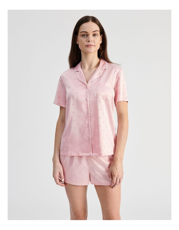 Satin Jacquard Short-Sleeve Pyjama Set image 1
