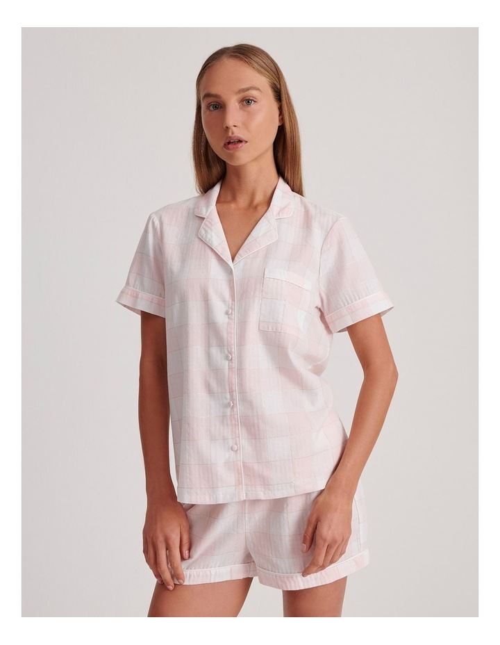 Lurex Short Sleeve Pyjama Set in Pink and White image 1