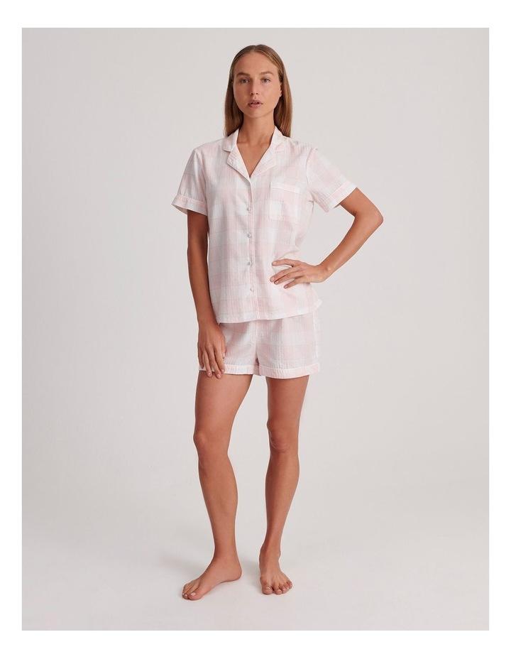 Lurex Short Sleeve Pyjama Set in Pink and White image 2