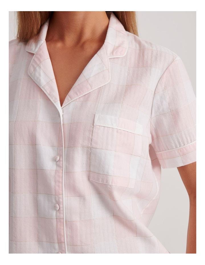 Lurex Short Sleeve Pyjama Set in Pink and White image 5