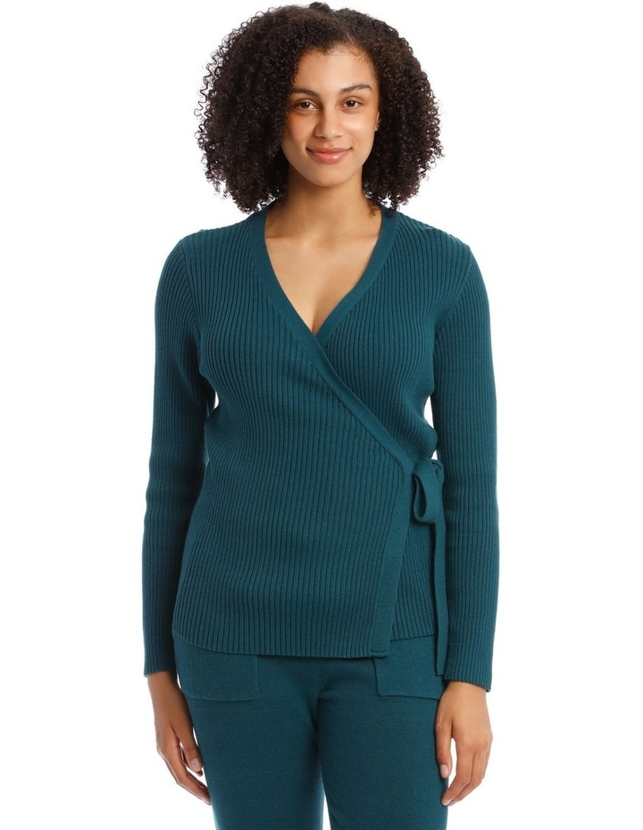 Cosy Comfort Fully-Fashioned Wrap Top in Emerald image 1