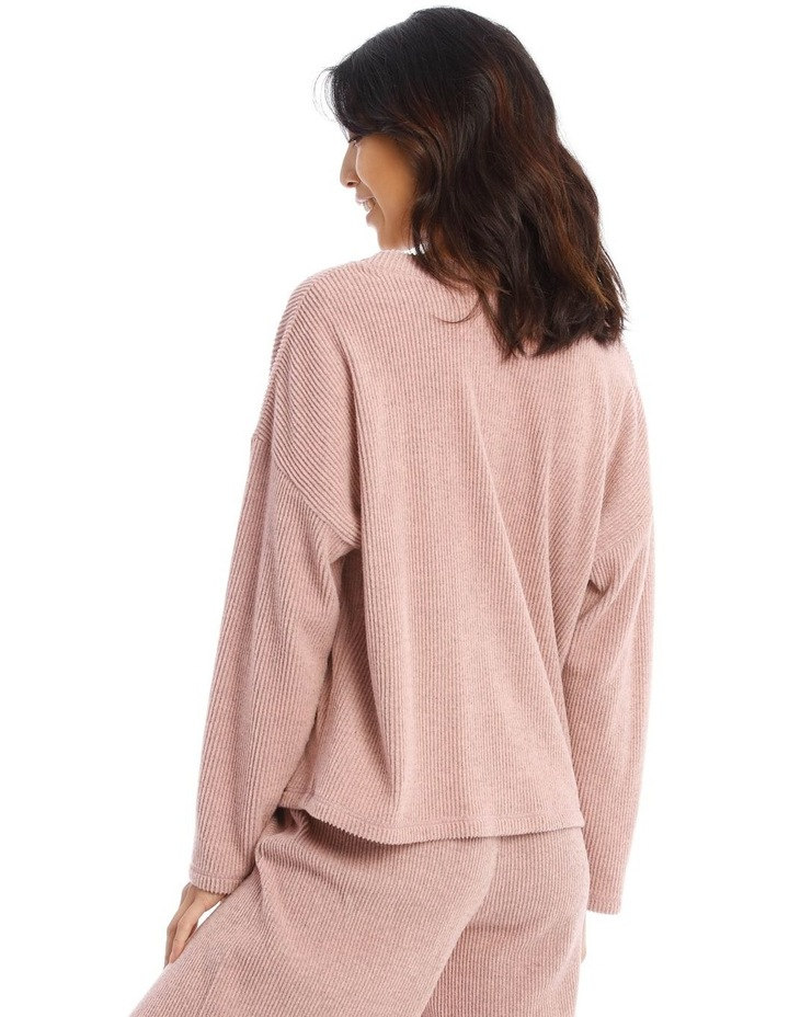 Cosy Comfort Wide Rib Long-Sleeve Top in Pink image 2