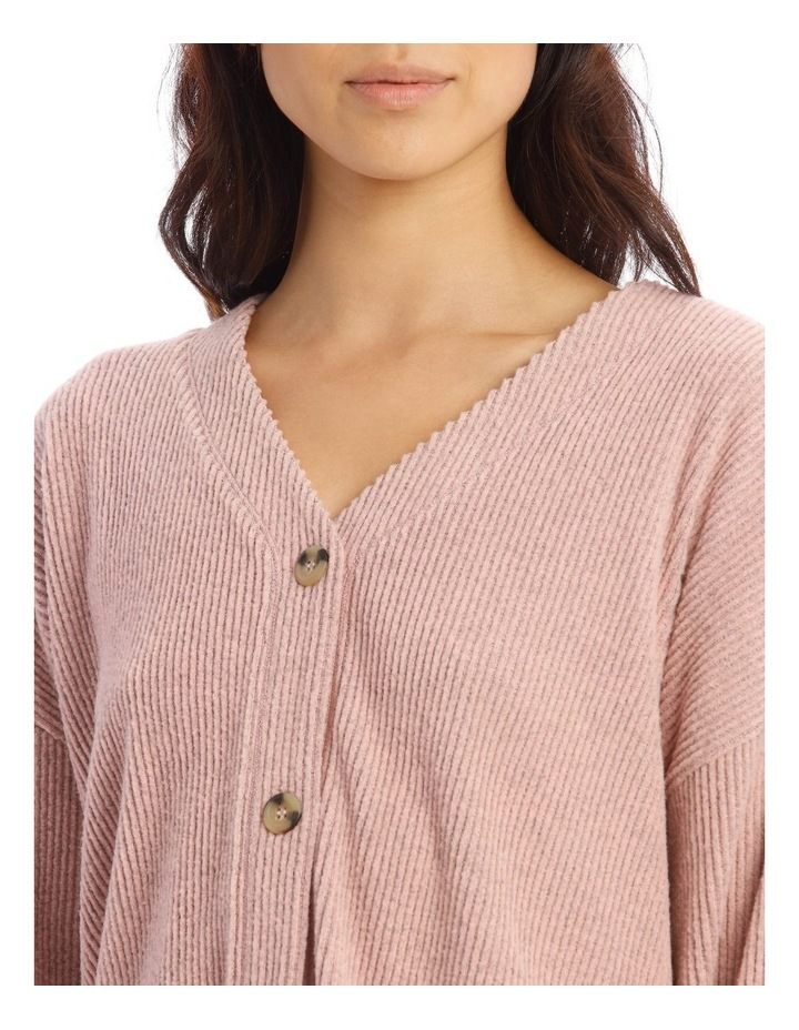 Cosy Comfort Wide Rib Long-Sleeve Top in Pink image 3